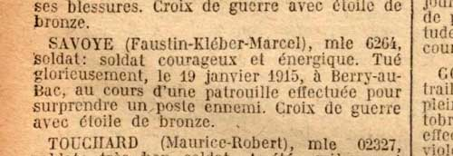 Citation de Fastin Savoye. Extrait du Journal officiel, octobre 1920