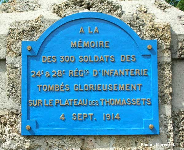 Photo de la plaque de la ferme des Thomassets, 4 sept. 1914