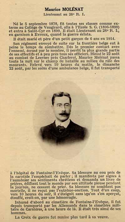 Maurice Molénat du 28e RI