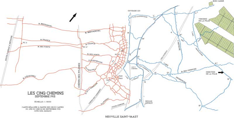 Carte du secteur des Cinq-Chemins