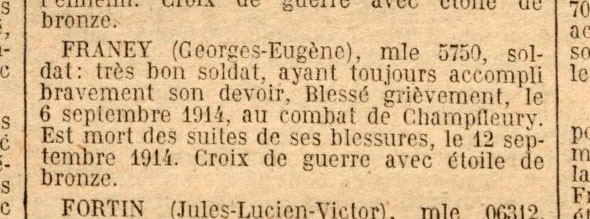 Citation de Georges Franey des Pavillons-sous-Bois, JO du 22 octobre 1922